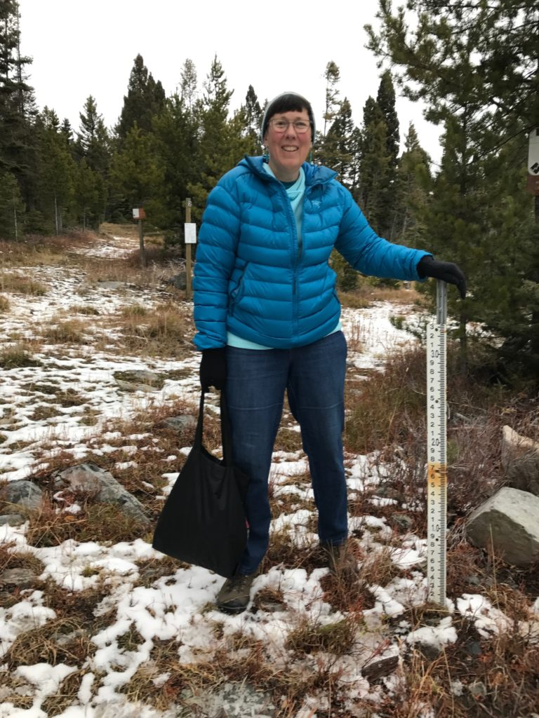 Sue Newell with New Snow Gauge